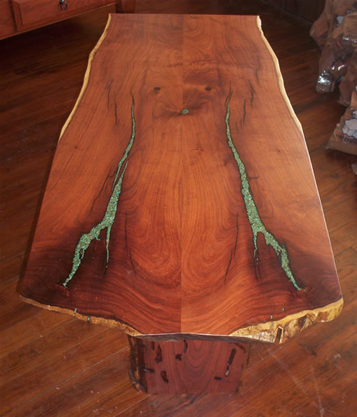Turquoise Inlay Mesquite Table