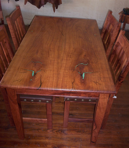 Turquoise Inlaid Dining Table Texas Mesquite Co